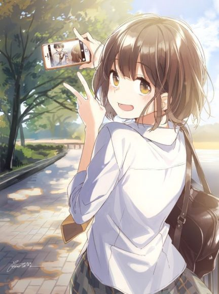hinh anh anime girl dang yeu kute khi chup anh tren smartphone