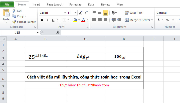 cach viet mu luy thua va cong thuc toan hoc trong excel
