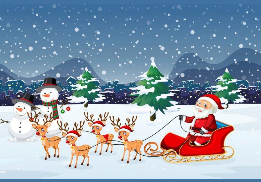 hinh anh ong gia Noel di xe truot tuyet va dan tuan loc