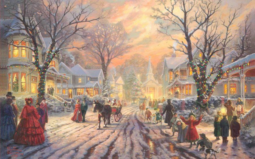 Tranh vẽ lễ hội chúc mừng giáng sinh của người dân ngày xưa.