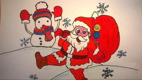 tranh vẽ ông già Noel đi phát quà
