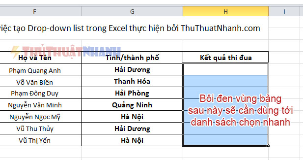 boi den vung bang excel can dung toi drop down list