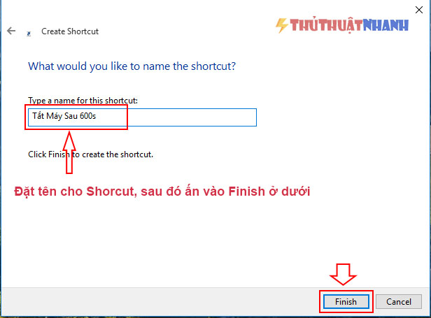 dat ten cho shortcut hen gio tat may va finish
