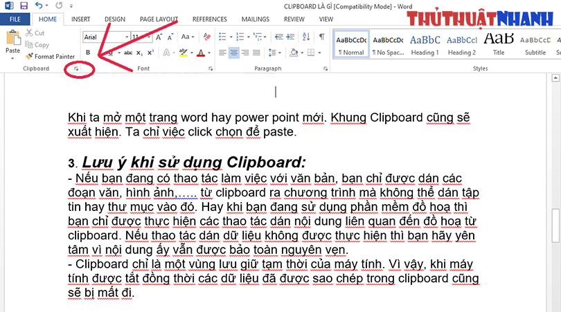 mo clipboard trong word