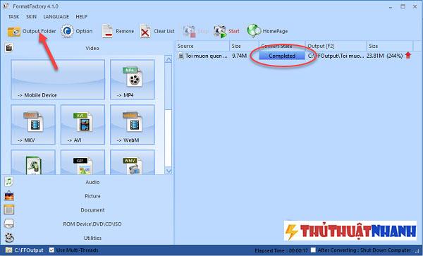 an ouput folder de mo file video vua cat trong format factory