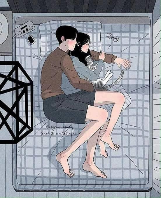 ảnh hoạt hình ôm người yêu ngủ trên giường