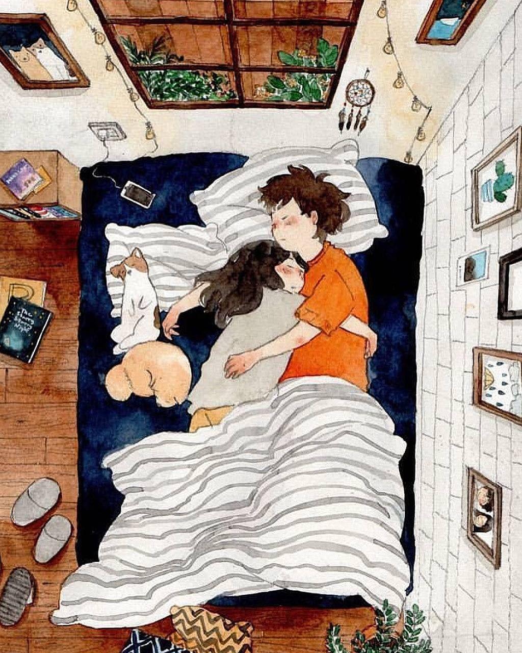 ảnh hoạt hình ôm nhau ngủ