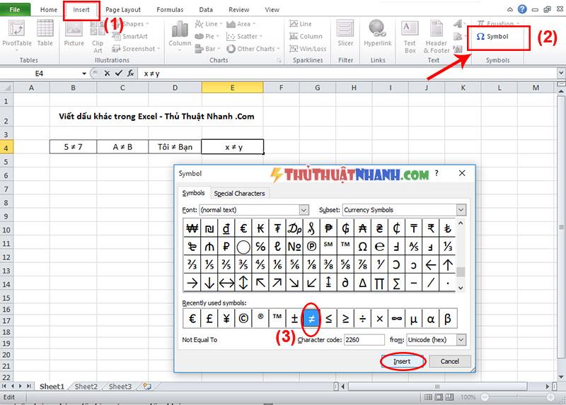 chen dau khac vao bang Excel