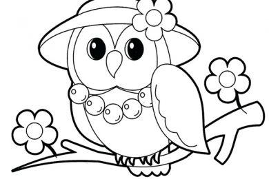 dowload tranh tô màu con chim cú dễ thương sống trong rừng
