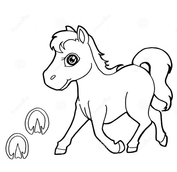hình ảnh con ngựa đen trắng tập tô màu