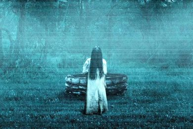 hình ảnh ma áo trắng tóc xõa đứng trong rừng