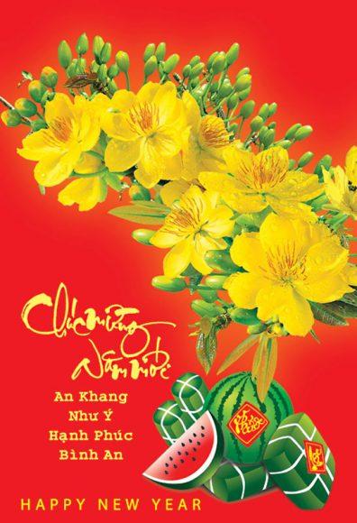 hình ảnh thiệp chúc mừng năm mới đẹp với hoa mai bánh chưng và dưa hấu