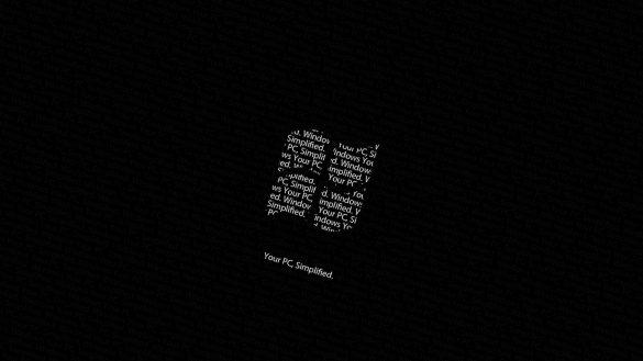 Hình nền đen mô phỏng biểu tượng và ảnh nền khởi động của Windows