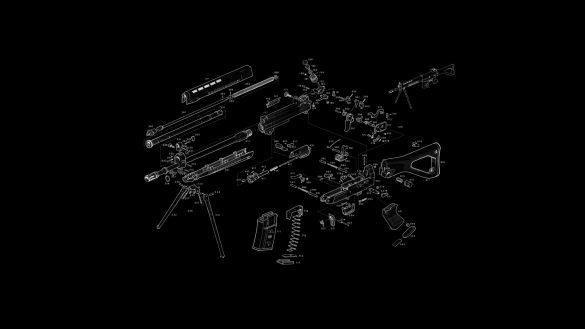 Hình nền đen và hình vẽ các bộ phận của súng bị tháo rời