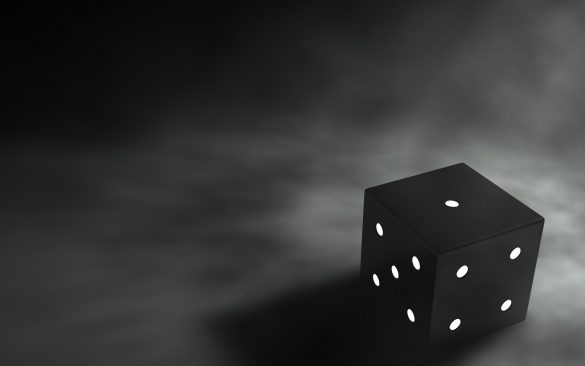 Hình nền không gian mờ ảo và con xúc xắc đen