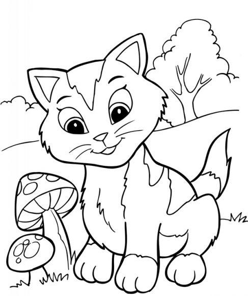 hình tô mẫu con mèo cho bé tập tô