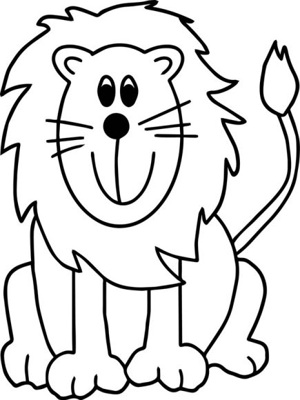 hình vẽ con sưu tử cho bé tập tô màu