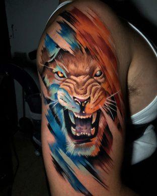 hình xăm màu 3D con sư tử chột mắt đang giận dữ