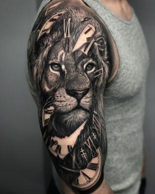 hình xăm sư tử 3D đẹp cho nam giới