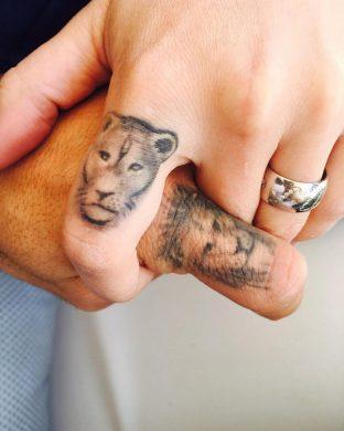 hình xăm sư tử cặp đôi cho nam nữ yêu nhau