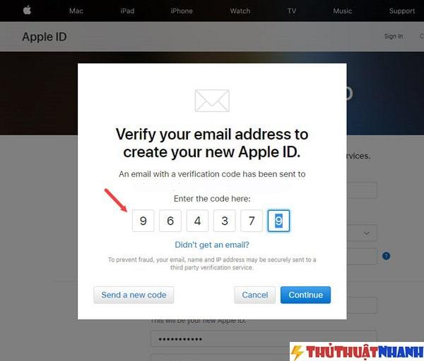 nhap ma so Apple gui vao mail cua ban vao cua so verify