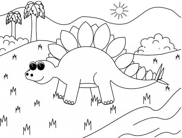 tập tô màu tranh khủng long bé 4 tuổi