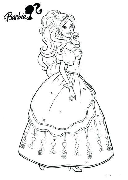 tô màu công chúa barbie mặc váy xinh đẹp