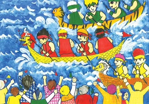 tranh đề tài đua thuyền