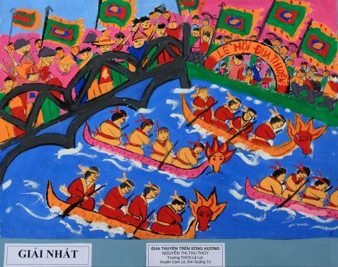 tranh lễ hội đua thuyền trên sông Hương