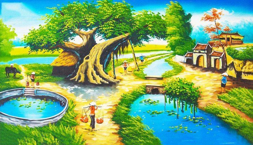 tranh phong canh ve bang son dau ve que huong viet nam