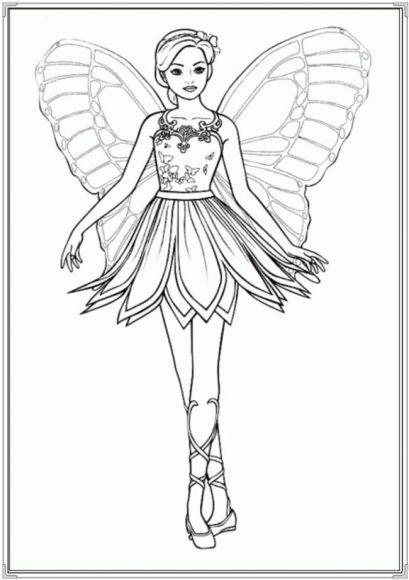 tranh tô màu búp bê barbie có cánh như một thiên thần
