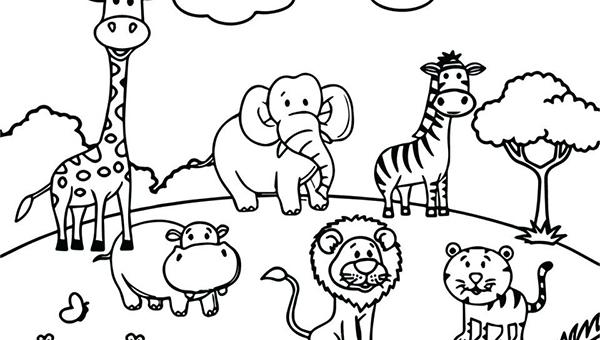 tranh tô màu các con vật sống trong rừng dễ thương cho bé 3 tuổi