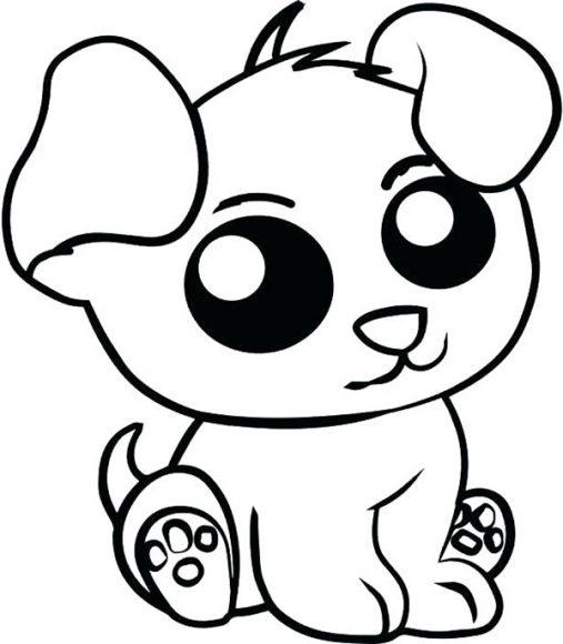 tranh tô màu con cún con dễ thương cho bé 5 tuổi