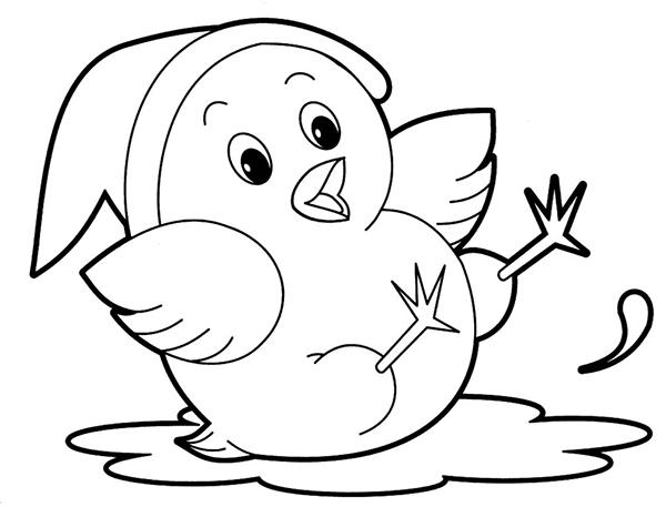 tranh tô màu con gà con nuôi trong gia đình cho bé 6 tuổi