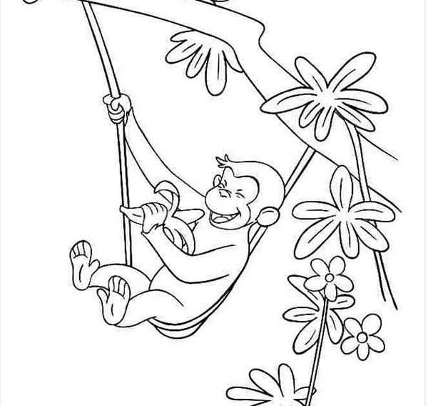 tranh tô màu con khỉ đang leo cây trong rừng cho bé 4 tuổi