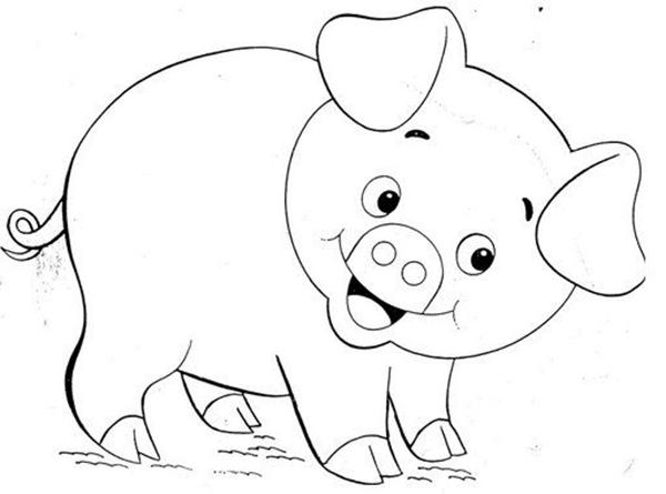 tranh tô màu con lợn cho bé 4 tuổi