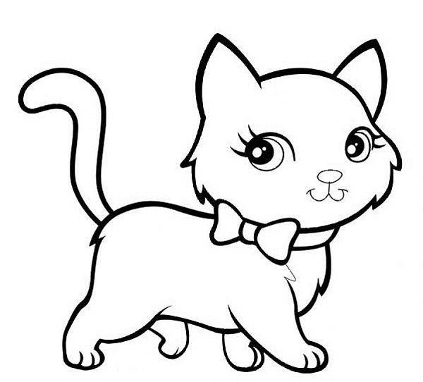 tranh tô màu con mèo dễ thương cho bé 3 tuổi