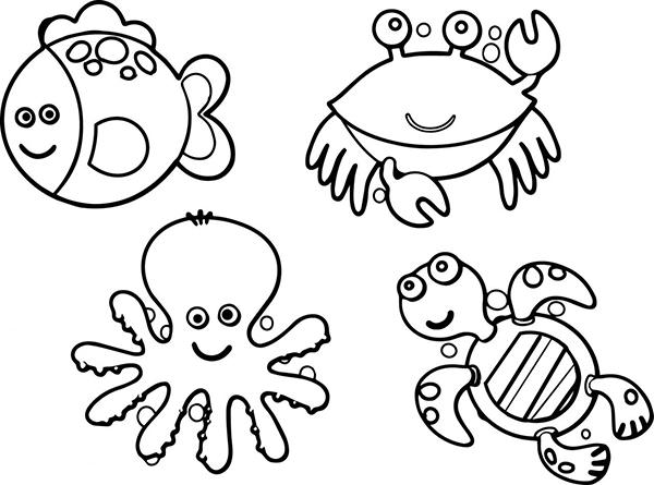 tranh tô màu con vật sống dưới nước