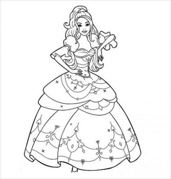 tranh tô màu công chúa barbie cho bé gái 5 tuổi