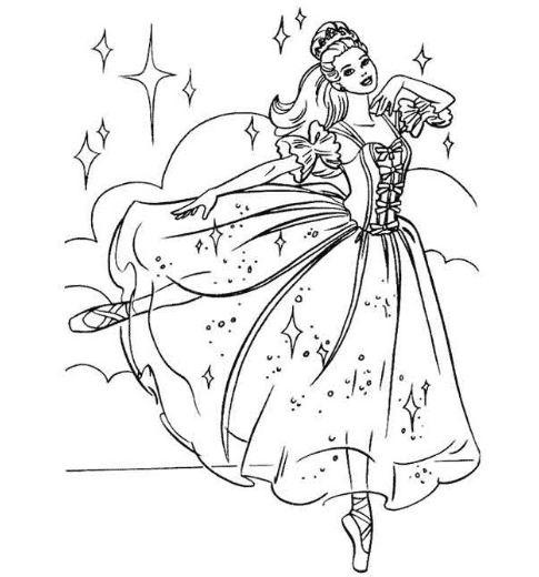 tranh tô màu công chúa barbie đang nhảy điệu múa đẹp mắt