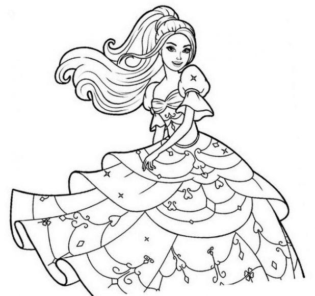 tranh tô màu công chúa barbie mặc váy đầm dạ hội cho bé gái 6 tuổi