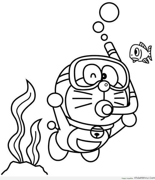 tranh tô màu doremon thám hiểm dưới đáy biển
