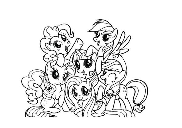 tranh to mau gia dinh con ngua pony