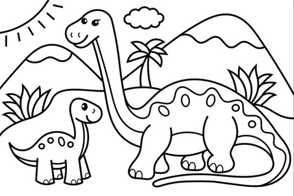 tranh tô màu khủng long ăn cỏ dễ thương