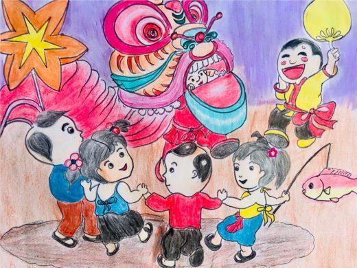 tranh vẽ đề tài lễ hội múa lân