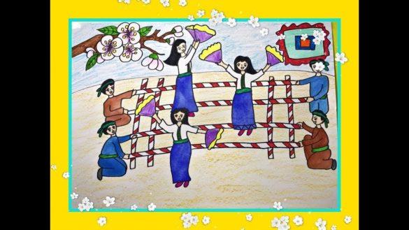 tranh vẽ đề tài lễ hội múa sạp