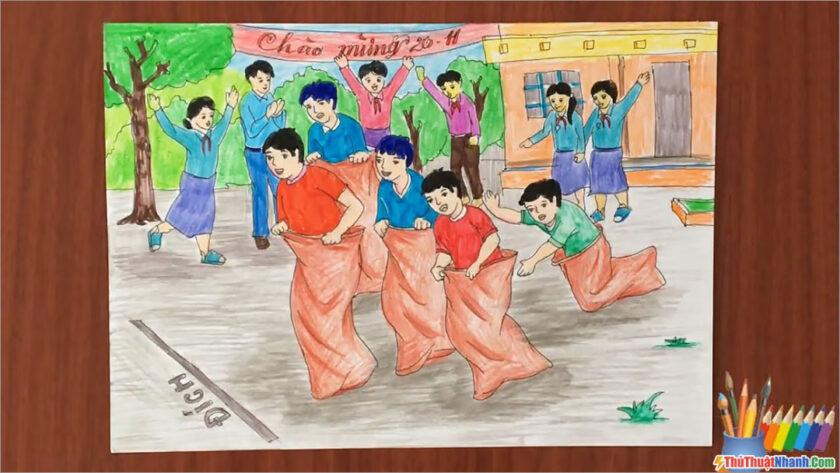 tranh vẽ đề tài lễ hội trò chơi dân gian nhảy bao bố