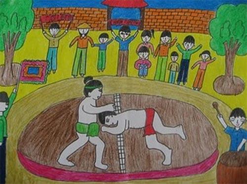 tranh vẽ lễ hội đấu vật