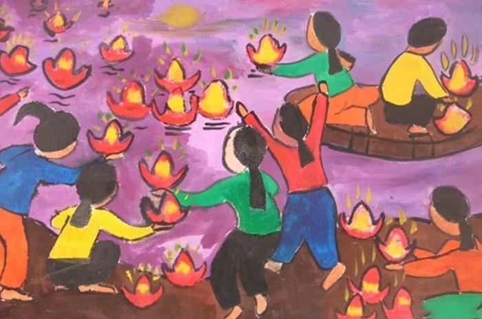 tranh vẽ lễ hội hoa đăng