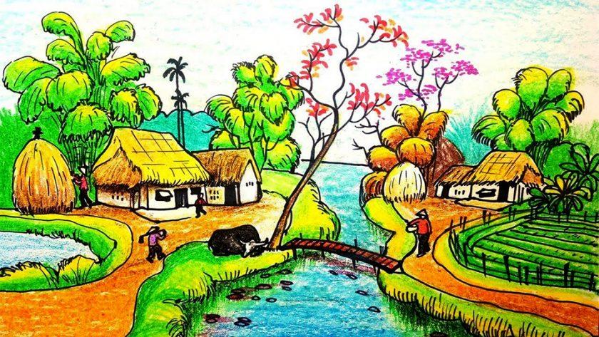 Tranh vẽ phong cảnh quê hương của học sinh cấp 2 lu